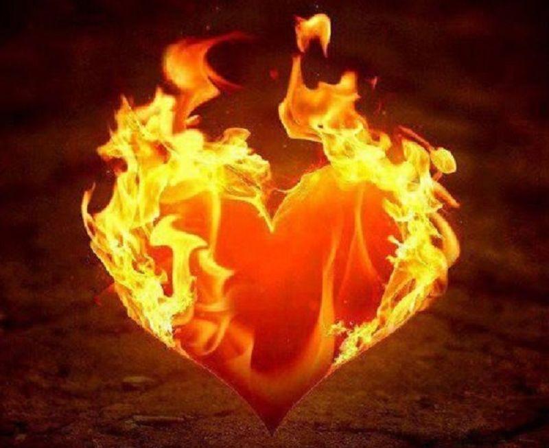Прикольная, открытки с горящим сердцем